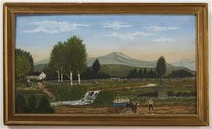 Primitive Farm Scene Painting