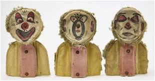 Three Folk Art Carnival Knock Down Clowns