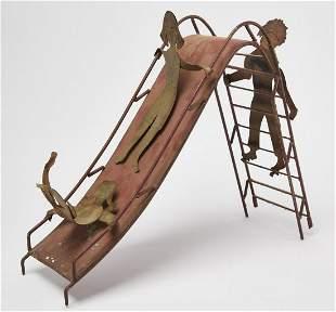Folk Art Children on Slide Sculpture