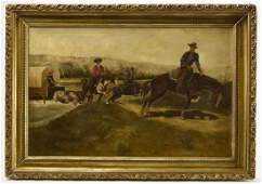 Large Western Folk Art Painting