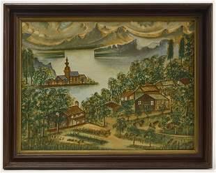 Fanciful Primitive Village Scene