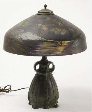 Art Nouveau Bronze Owl Lamp