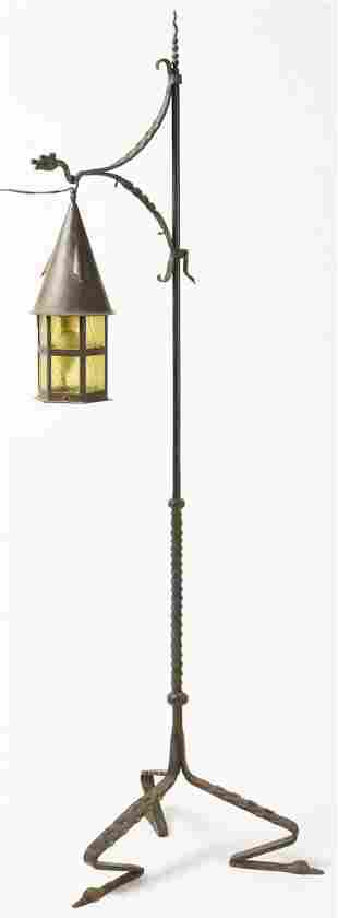 Arts and Crafts Wrought Iron Floor Lamp