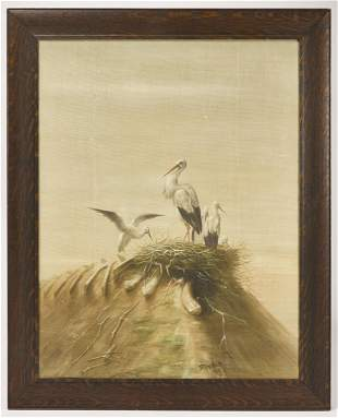 Large Oil on Canvas- Birds, signed
