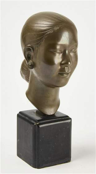 Asian Bronze Bust of a Lady