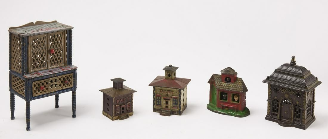 Four Cast Iron Banks and Doll House Cabinet