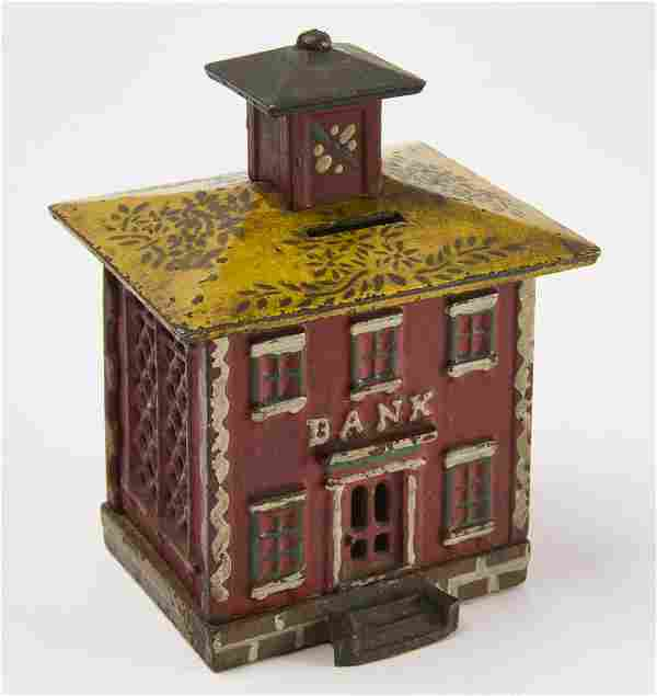 Cast Iron Bank with Stenciled Yellow Roof