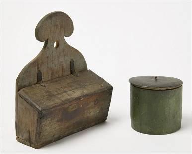 Small Painted Wall Box - Green Treen Box