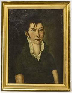 Early Folk Art Portrait of a Young Lady