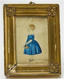 Watercolor Miniature Portrait -Girl in Blue Dress
