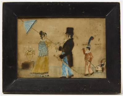 Folk Art Watercolor Family Portrait