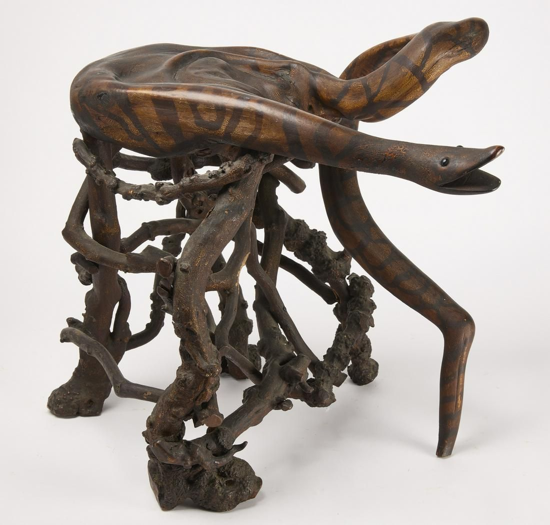 Folk Art Snake Rustic Root Stool