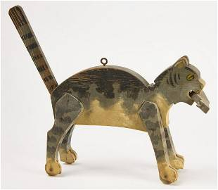 Cat and Mouse Painted Wood Pull Toy