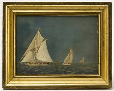 Primitive Painting of Sailboats