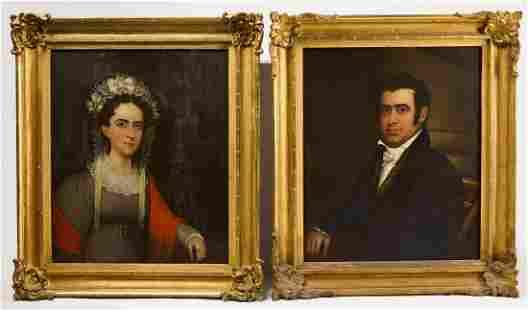 M. Pearce - Pair of 1826 Connecticut Portraits