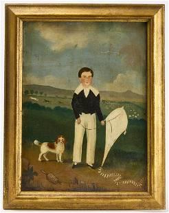 Primitive Portrait of a Boy and His Dog
