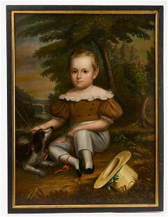 Portrait of a Young Boy with Dog