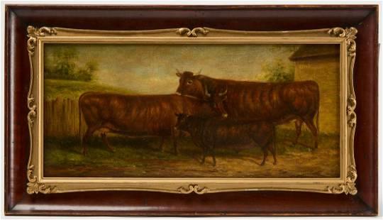 Folk Art Painting of Cattle