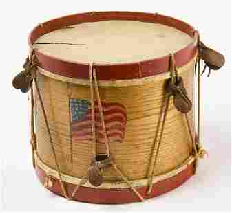 Two Painted Drums with American Flags