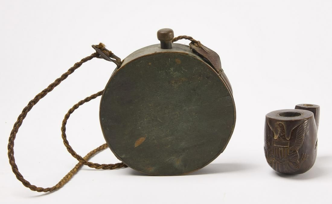 Civil War Canteen & Carved Pipe