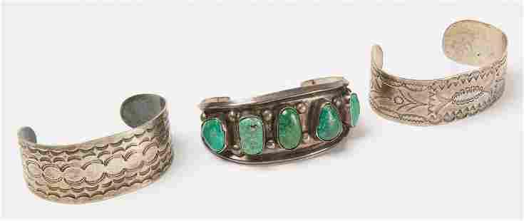 Three Silver Navajo Bracelets