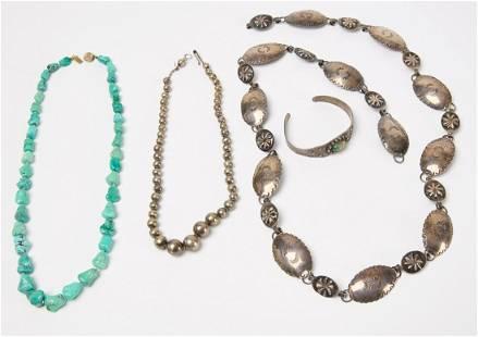 Four Piece Lot of Navajo Jewelry