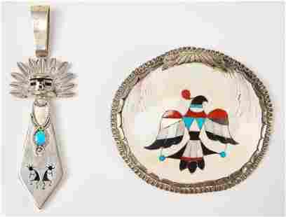 Native American Inlaid Shell Pin & Pendant