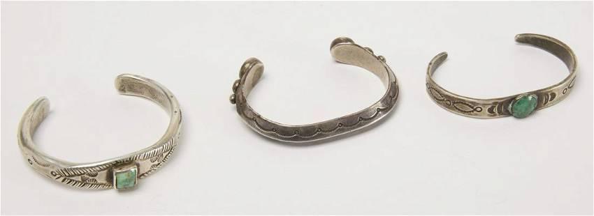 Three Good Early Navajo Bracelets