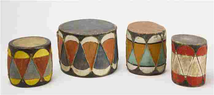 Four Native American Painted Child's Drums