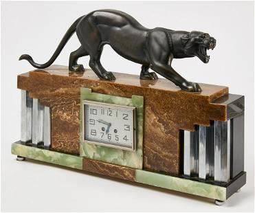 Art Deco Clock with Jaguar