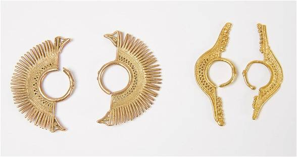Two Pairs of Early South American Filagree Earrings