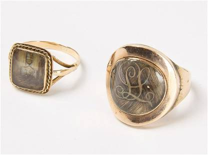 Two Victorian Hair Mourning Rings