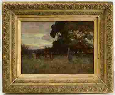 Landscape Painting with Cows and Maiden