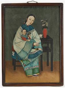Chinese Portrait of a Mother and Child