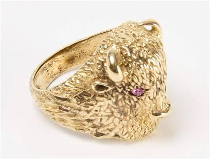 Good 14K Men's Buffalo Ring with Ruby Eyes
