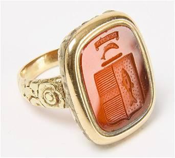 Antique Carnelian Intaglio Armorial Signet Ring