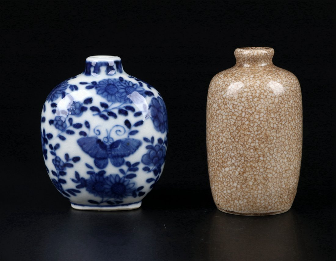 A Ge Glazed Snuff Bottle and A Blue and White Snuff Bot - 2