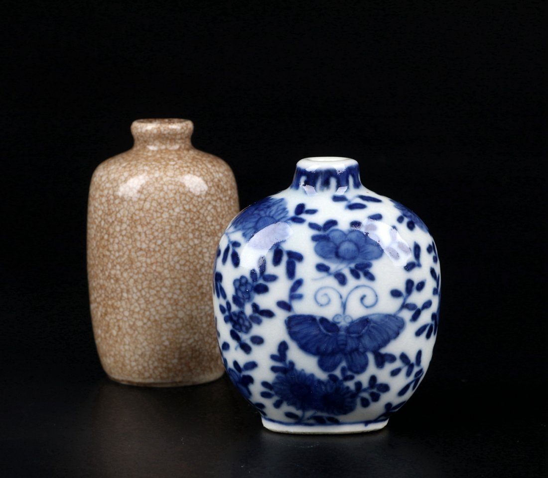 A Ge Glazed Snuff Bottle and A Blue and White Snuff Bot - 5