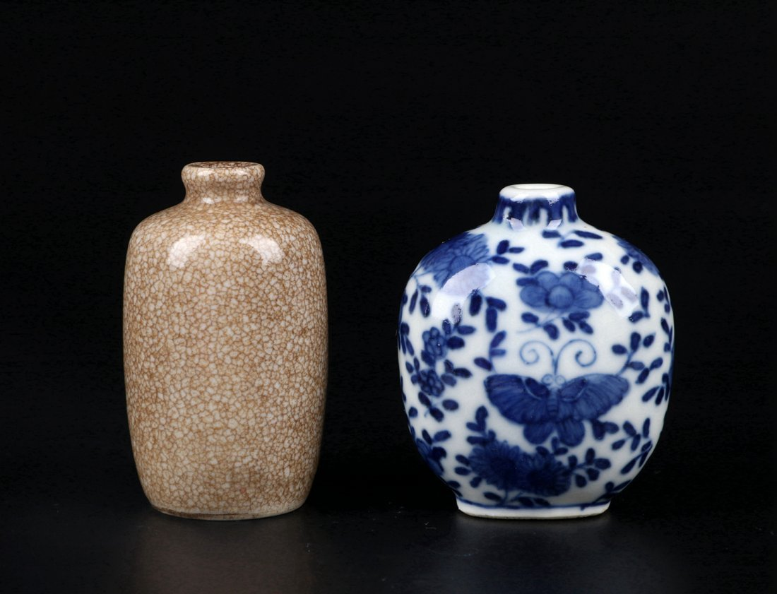 A Ge Glazed Snuff Bottle and A Blue and White Snuff Bot - 6