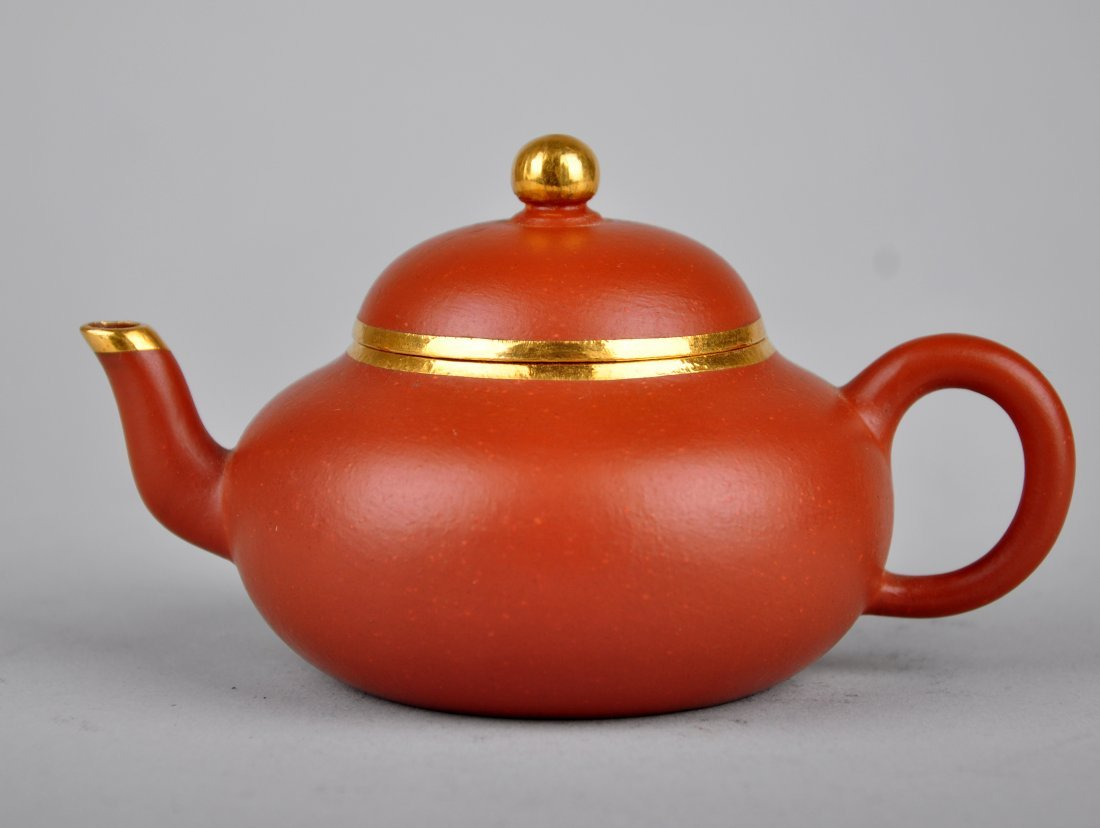 A Red Clay Tea Pot with 'Meng Chen Zhi' Mark, Qing Dyna