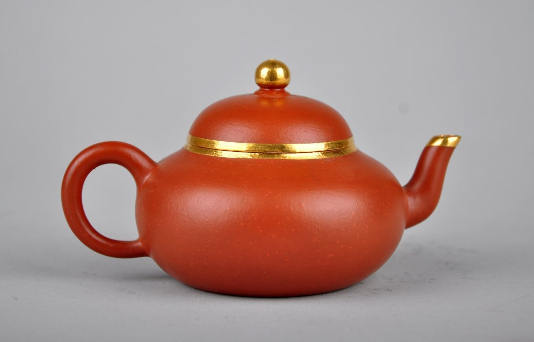 A Red Clay Tea Pot with 'Meng Chen Zhi' Mark, Qing Dyna - 2