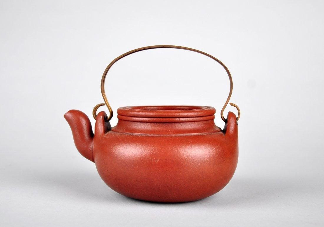 A Red Clay Tea Pot with 'Gu Jingzhou' Mark