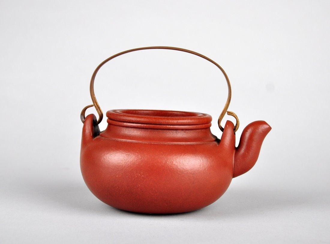 A Red Clay Tea Pot with 'Gu Jingzhou' Mark - 2