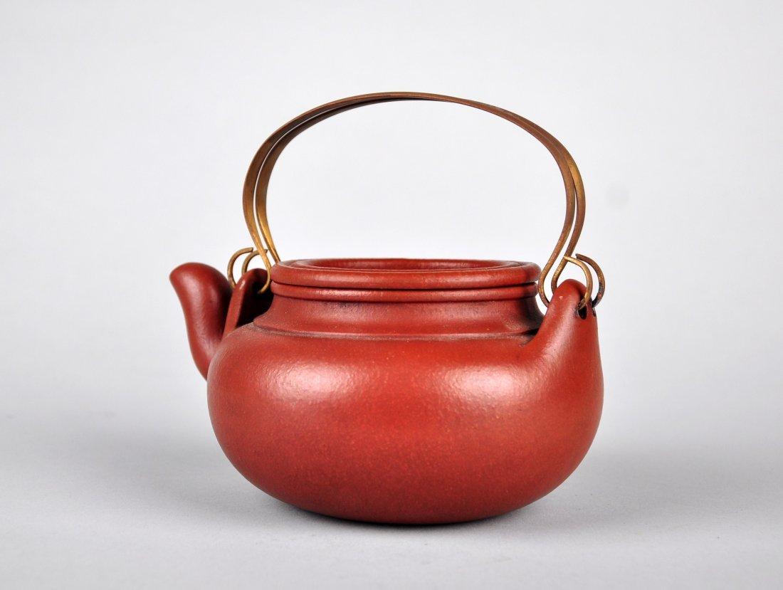A Red Clay Tea Pot with 'Gu Jingzhou' Mark - 3
