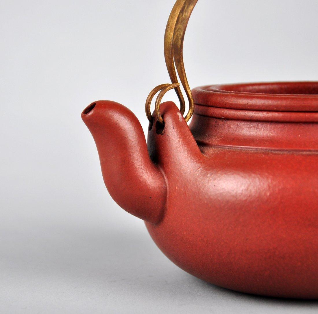 A Red Clay Tea Pot with 'Gu Jingzhou' Mark - 4
