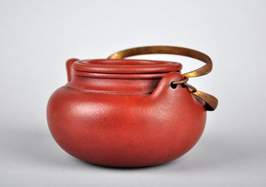 A Red Clay Tea Pot with 'Gu Jingzhou' Mark - 5
