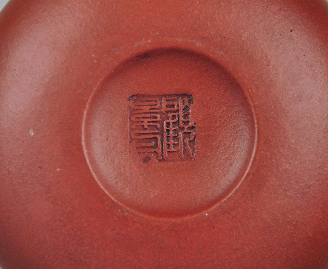 A Red Clay Tea Pot with 'Gu Jingzhou' Mark - 6