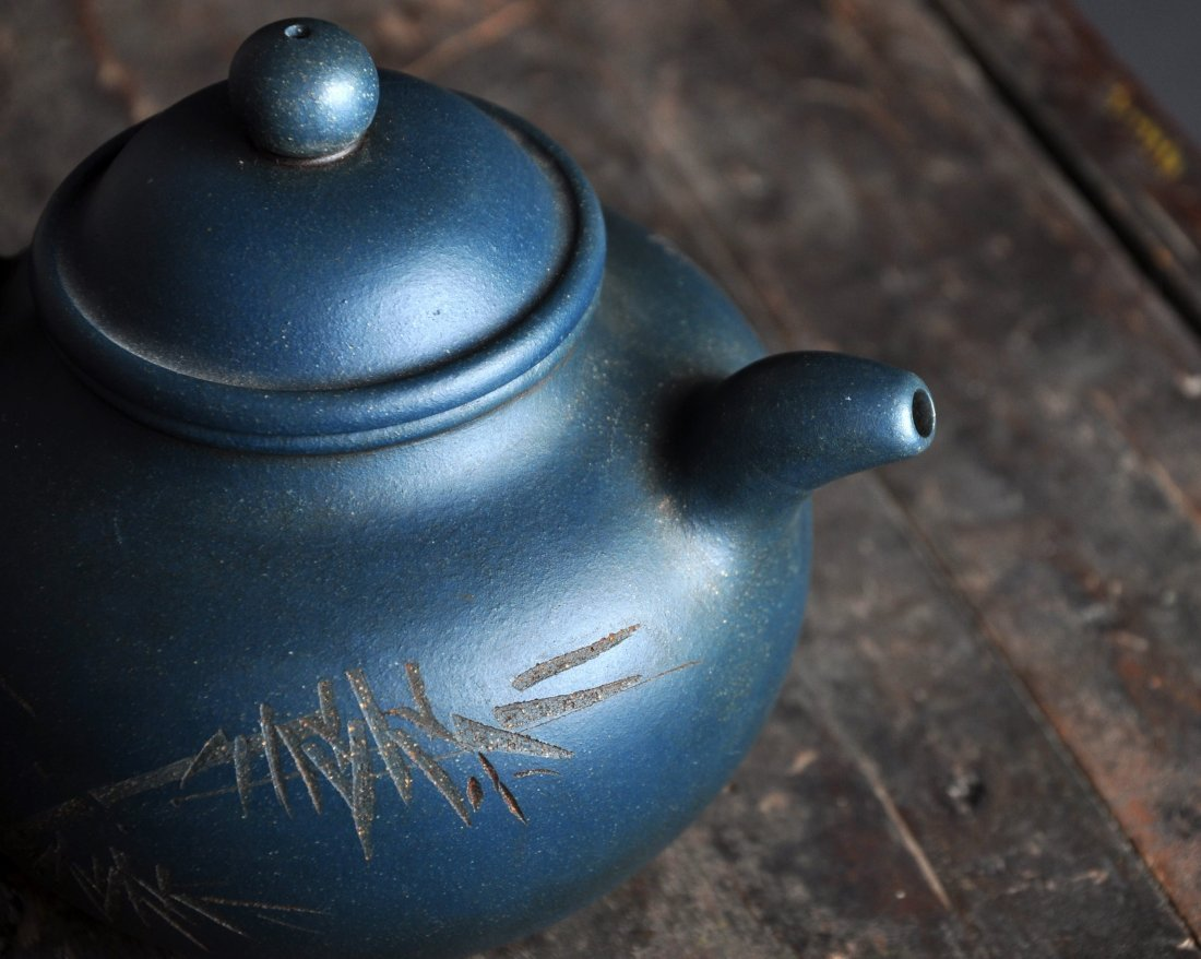 A Carved Calligraphy Clay Tea Pot with 'Wu Changshuo' - 3