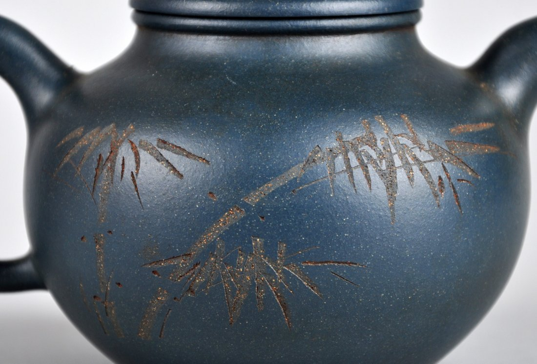 A Carved Calligraphy Clay Tea Pot with 'Wu Changshuo' - 7