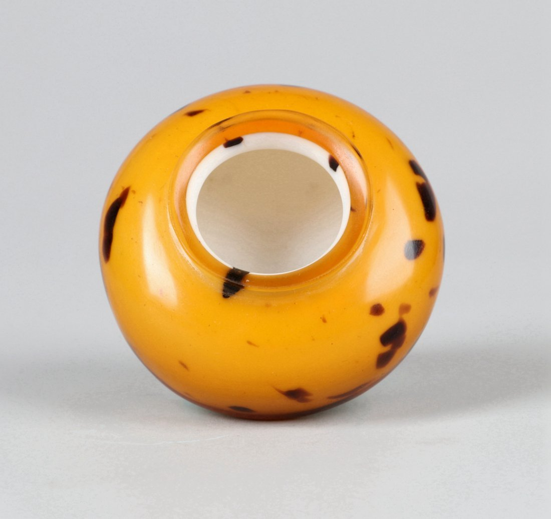 A Glass Imitating Tortoise Shell Water Pot Qing Dynasty - 5